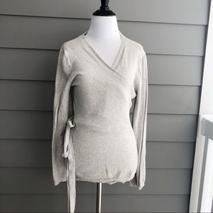 J. Crew Wrapped Long Sleeve Grey Sweater Blouse